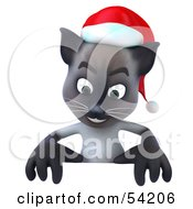 Royalty Free RF Clipart Illustration Of A 3d Siamese Pussy Cat Character Standing Behind A Blank Sign
