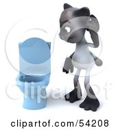 3d Siamese Pussy Cat Character Standing By A Blue Toilet - Pose 1