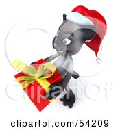 Royalty Free RF Clipart Illustration Of A 3d Siamese Pussy Cat Character In A Santa Hat Carrying A Gift Pose 1