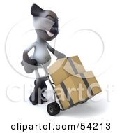 Royalty Free RF Clipart Illustration Of A 3d Siamese Pussy Cat Character Moving Boxes On A Dolly Pose 2