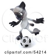 Royalty Free RF Clipart Illustration Of A 3d Siamese Pussy Cat Character Playing Soccer Pose 4
