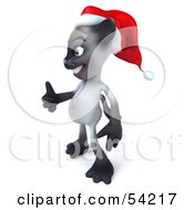 Royalty Free RF Clipart Illustration Of A 3d Siamese Pussy Cat Character Wearing A Santa Hat And Giving The Thumbs Up Pose 2
