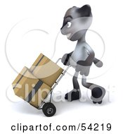 Royalty Free RF Clipart Illustration Of A 3d Siamese Pussy Cat Character Moving Boxes On A Dolly Pose 1