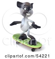 Royalty Free RF Clipart Illustration Of A 3d Siamese Pussy Cat Character Skateboarding Pose 2