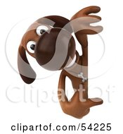 Royalty Free RF Clipart Illustration Of A 3d Brown Pooch Character Pointing At And Looking Around A Sign by Julos