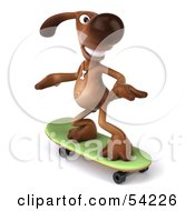 Royalty Free RF Clipart Illustration Of A 3d Brown Pooch Character Skateboarding Pose 2 by Julos