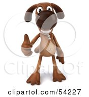 Royalty Free RF Clipart Illustration Of A 3d Brown Pooch Character Giving The Thumbs Up Pose 1