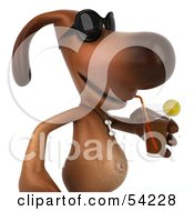 Royalty Free RF Clipart Illustration Of A 3d Brown Pooch Character Wearing Sunglasses And Sipping A Beverage Pose 2 by Julos