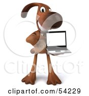 Royalty Free RF Clipart Illustration Of A 3d Brown Pooch Character With A Laptop Pose 2 by Julos