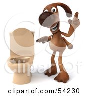 Royalty Free RF Clipart Illustration Of A 3d Brown Pooch Character By A Toilet Pose 2 by Julos