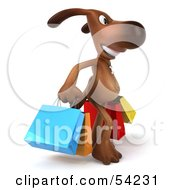 Royalty Free RF Clipart Illustration Of A 3d Brown Pooch Character Carrying Shopping Bags Version 2 by Julos
