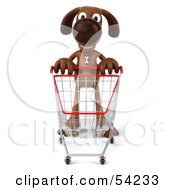 Royalty Free RF Clipart Illustration Of A 3d Brown Pooch Character Pushing A Shopping Cart Pose 1 by Julos