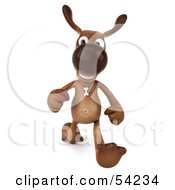 Royalty Free RF Clipart Illustration Of A 3d Brown Pooch Character Running Forward by Julos