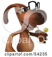 Royalty Free RF Clipart Illustration Of A 3d Brown Pooch Character Wearing Spectacles And Drinking A Beverage Pose 2