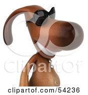 Royalty Free RF Clipart Illustration Of A 3d Brown Pooch Character Wearing Sunglasses Pose 2 by Julos