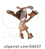 Royalty Free RF Clipart Illustration Of A 3d Brown Pooch Character Doing His Happy Dance Pose 3 by Julos