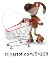 Royalty Free RF Clipart Illustration Of A 3d Brown Pooch Character Pushing A Shopping Cart Pose 2 by Julos