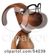 Royalty Free RF Clipart Illustration Of A 3d Brown Pooch Character Wearing Spectacles Pose 2 by Julos