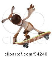 Royalty Free RF Clipart Illustration Of A 3d Brown Pooch Character Skateboarding Pose 4 by Julos
