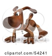Royalty Free RF Clipart Illustration Of A 3d Brown Pooch Character Walking On All Fours Pose 1