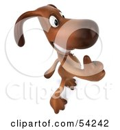 Royalty Free RF Clipart Illustration Of A 3d Brown Pooch Character Giving The Thumbs Up Pose 4 by Julos