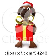 Royalty Free RF Clipart Illustration Of A 3d Brown Pooch Character Carrying A Christmas Gift Pose 3 by Julos