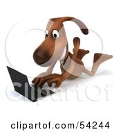 Royalty Free RF Clipart Illustration Of A 3d Brown Pooch Character With A Laptop Pose 7