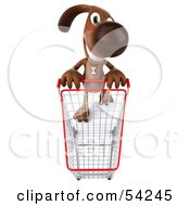 Royalty Free RF Clipart Illustration Of A 3d Brown Pooch Character Pushing A Shopping Cart Pose 3