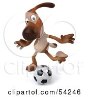 Royalty Free RF Clipart Illustration Of A 3d Brown Pooch Character Playing Soccer Pose 4 by Julos