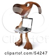 Royalty Free RF Clipart Illustration Of A 3d Brown Pooch Character With A Laptop Pose 3 by Julos