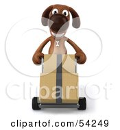 Royalty Free RF Clipart Illustration Of A 3d Brown Pooch Character Moving Boxes With A Hand Truck Pose 1