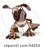 Royalty Free RF Clipart Illustration Of A 3d Brown Pooch Character Walking On All Fours Pose 2