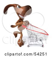 Royalty Free RF Clipart Illustration Of A 3d Brown Pooch Character Pushing A Shopping Cart Pose 4 by Julos