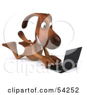 Royalty Free RF Clipart Illustration Of A 3d Brown Pooch Character With A Laptop Pose 8 by Julos