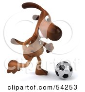 Royalty Free RF Clipart Illustration Of A 3d Brown Pooch Character Playing Soccer Pose 2