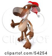 Royalty Free RF Clipart Illustration Of A 3d Brown Pooch Character Waring A Santa Hat And Giving The Thumbs Up Pose 2 by Julos