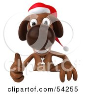 Royalty Free RF Clipart Illustration Of A 3d Brown Christmas Pooch Character Giving The Thumbs Up Behind A Blank Sign