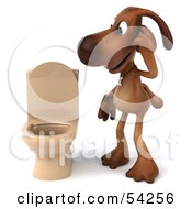 Royalty Free RF Clipart Illustration Of A 3d Brown Pooch Character By A Toilet Pose 1