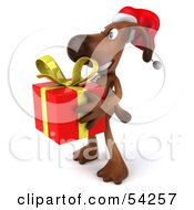 Royalty Free RF Clipart Illustration Of A 3d Brown Pooch Character Carrying A Christmas Gift Pose 4 by Julos