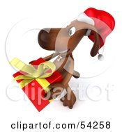 Royalty Free RF Clipart Illustration Of A 3d Brown Pooch Character Carrying A Christmas Gift Pose 1