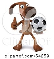 Royalty Free RF Clipart Illustration Of A 3d Brown Pooch Character Playing Soccer Pose 1