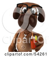 Royalty Free RF Clipart Illustration Of A 3d Brown Pooch Character Wearing Spectacles And Drinking A Beverage Pose 1