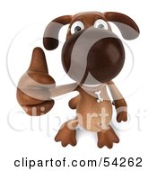 Royalty Free RF Clipart Illustration Of A 3d Brown Pooch Character Giving The Thumbs Up Pose 3