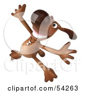 Royalty Free RF Clipart Illustration Of A 3d Brown Pooch Character Doing His Happy Dance Pose 4 by Julos