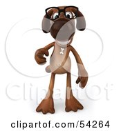 Royalty Free RF Clipart Illustration Of A 3d Brown Pooch Character Wearing Spectacles Pose 3