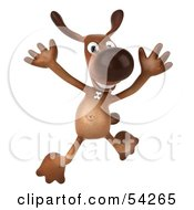 Royalty Free RF Clipart Illustration Of A 3d Brown Pooch Character Leaping by Julos