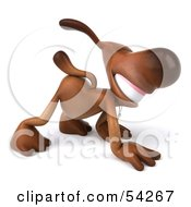 Royalty Free RF Clipart Illustration Of A 3d Brown Pooch Character Walking On All Fours Pose 3