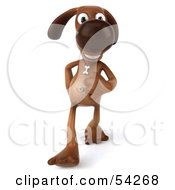Royalty Free RF Clipart Illustration Of A 3d Brown Pooch Character Walking Forward by Julos