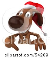 Royalty Free RF Clipart Illustration Of A 3d Brown Christmas Pooch Character Pointing Down At And Standing Behind A Blank Sign by Julos