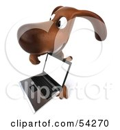 Royalty Free RF Clipart Illustration Of A 3d Brown Pooch Character With A Laptop Pose 5